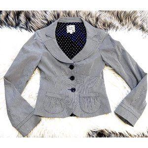 Nanette Lepore navy pin striped jacket, size 0